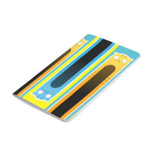 Blue Gingercat striped pattern Pocket Journal