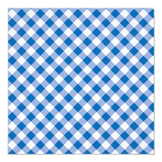 "Blue Gingham 5.25"" Square Invitation Card"