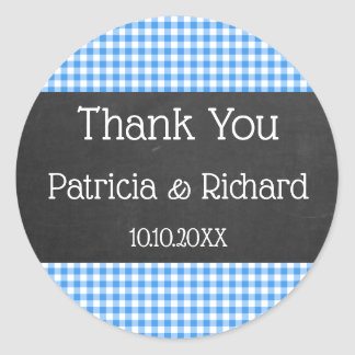 Blue Gingham And Chalkboard Wedding Thank You Classic Round Sticker