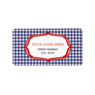 Blue Gingham And Red Address Label