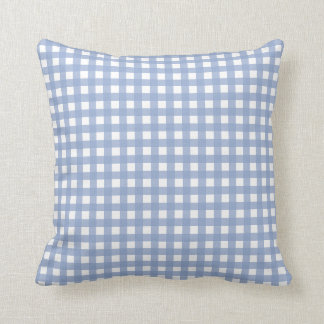 Blue Gingham and Serenity Blue Solid Color Throw Pillow
