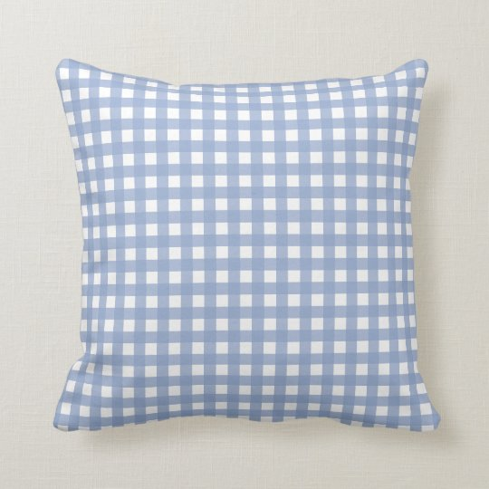 Blue Gingham and Serenity Blue Solid Colour Throw Pillow