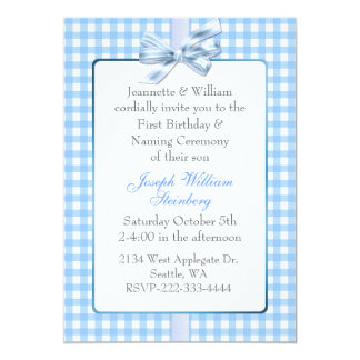 Blue Gingham Babyu0026#39;s Birthday And Naming Ceremony Card