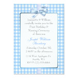 """Blue Gingham Baby's Birthday and Naming Ceremony 5"""" X 7"""" Invitation Card"""