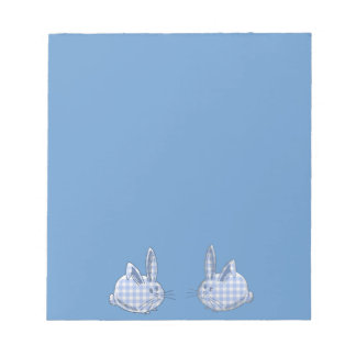 blue  gingham bunnies notepad
