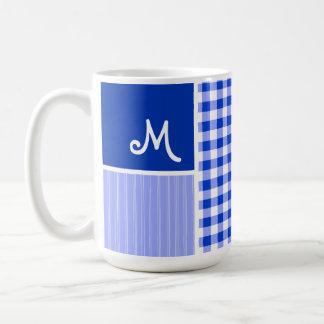 Blue Gingham; Checkered Mug