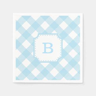 Blue Gingham Checkered Pattern Paper Napkin