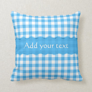 Blue Gingham Checkered  Pattern Personalized Throw Pillow