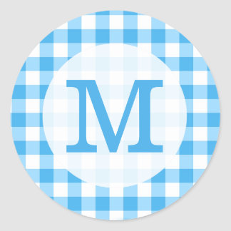 Blue Gingham Checks Simple Custom Monogram Round Sticker