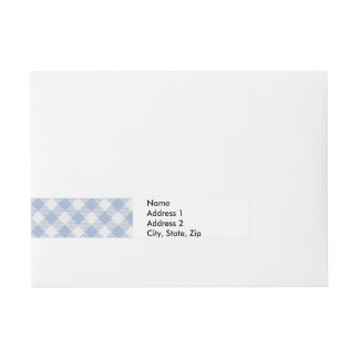 Blue Gingham chequered classic pattern Wraparound Address Label