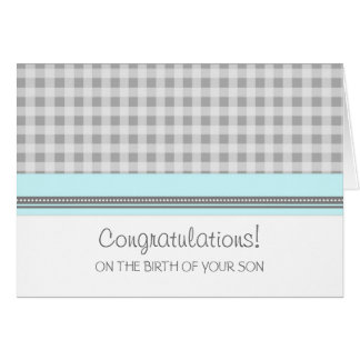 Blue Gingham Congratulations New Baby Boy Card