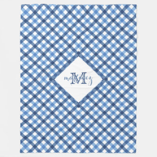 Blue gingham diamond monogram name fleece blanket