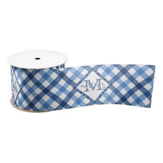 Blue gingham diamond monogram name wide only satin ribbon