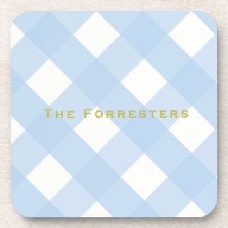 Blue Gingham Drink Coasters (6)