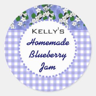 Blue gingham floral blueberry jam label round sticker