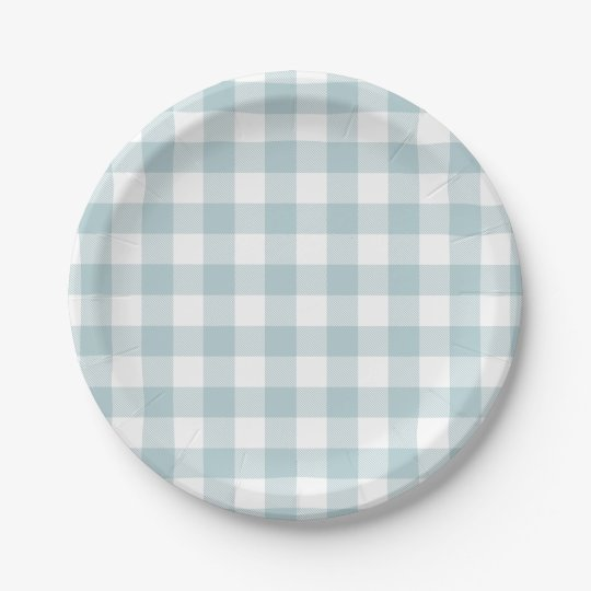 Blue Gingham For Easter Bunny Ears Paper Plate