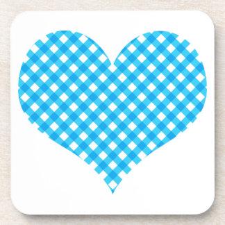Blue Gingham Heart Design Coaster