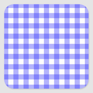 Blue Gingham Material Square Sticker