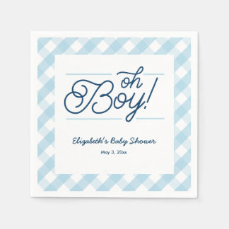 "Blue Gingham ""Oh Boy"" Baby Shower Napkins Disposable Napkins"