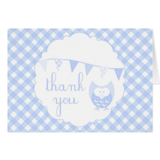Blue Gingham Party Banner and Owl Thank You Card