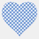 Blue Gingham Pattern Heart Sticker