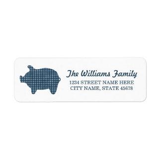 Blue Gingham Piggie Address Labels