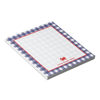 Blue Gingham & Red Crab Personalized Notepad