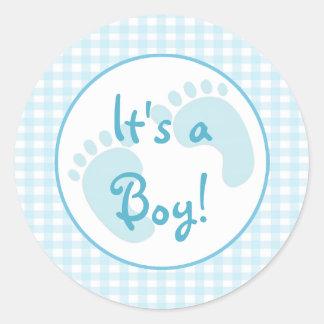 Blue Gingham Round Sticker