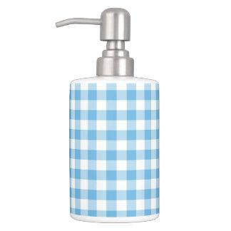 Blue Gingham Soap Dispenser And Toothbrush Holder