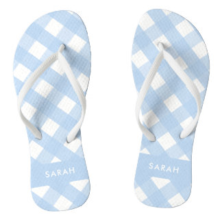 Blue Gingham Thongs Personalized