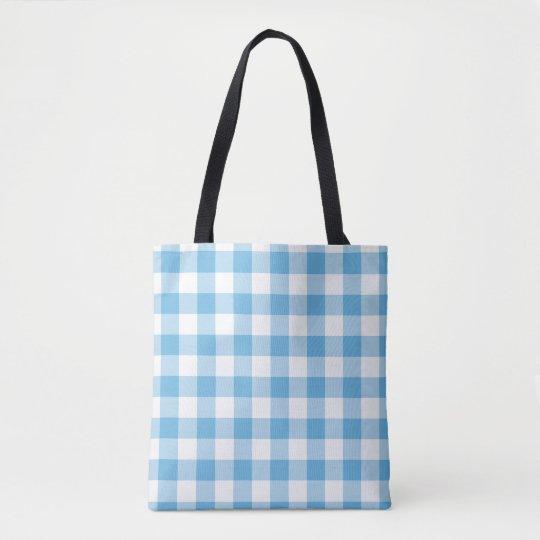 Blue Gingham Tote Bag