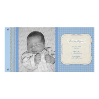 Blue Gingham Vintage Birth Announcement Card