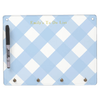 Blue Gingham Whiteboard with Key Holders