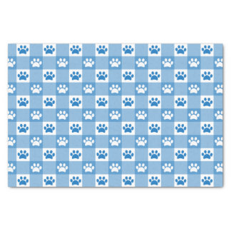 Blue Gingham with Paws Tissue Paper