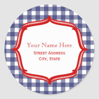 Blue Gingham With Red Address Sticker