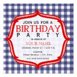 Blue Gingham With Red - Birthday Party Invitation