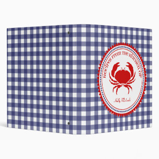 Blue Gingham With Red Crab Recipe Binder