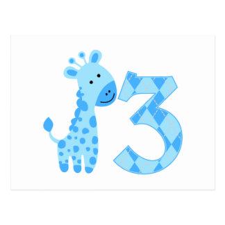 Blue Giraffe 3rd Birthday Postcard
