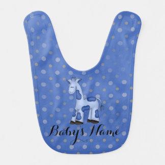 Blue Giraffe Baby Bib