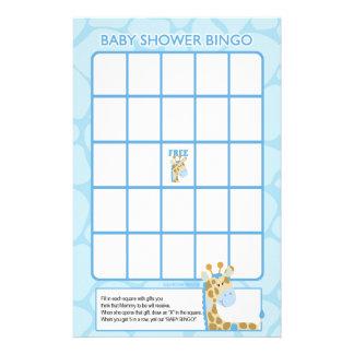 Blue Giraffe Baby Shower Bingo Game Stationery