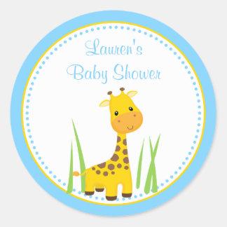 Blue Giraffe Baby Shower Favor Tag Sticker