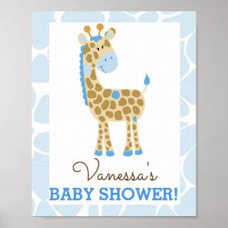 Blue Giraffe Baby Shower Sign Poster