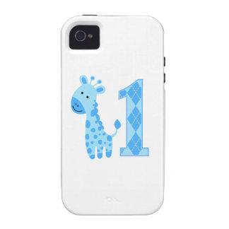 Blue Giraffe First Birthday Vibe iPhone 4 Cover