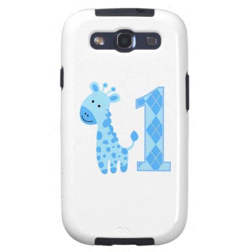 Blue Giraffe First Birthday Galaxy SIII Cases