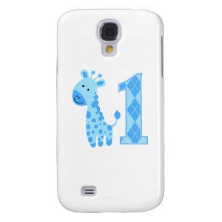 Blue Giraffe First Birthday Galaxy S4 Cases