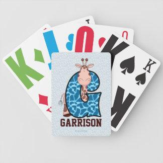 "Blue Giraffe Monogram ""G"" Kid's Playing Cards"