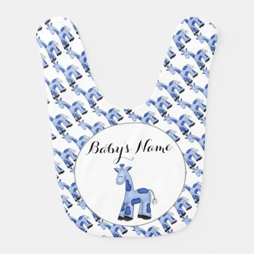Blue Giraffe Personalized Baby Bib