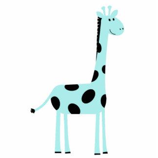 Blue Giraffe Pin Photo Sculpture Button