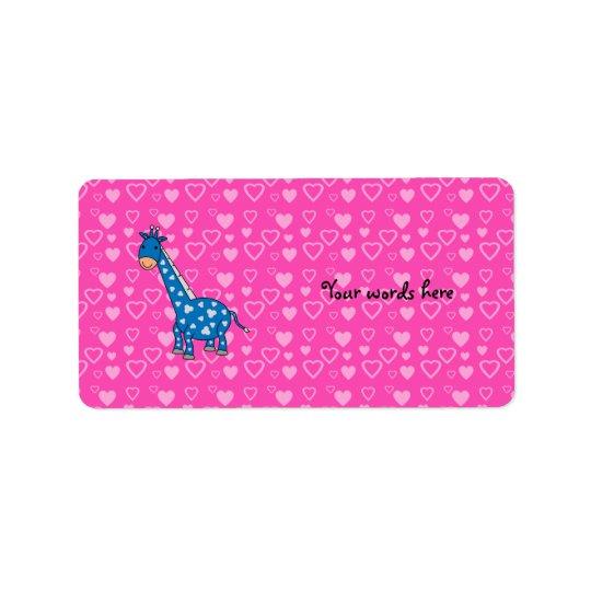 Blue giraffe pink hearts label
