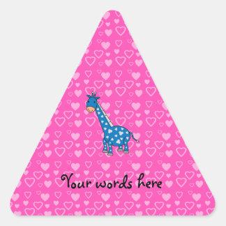 Blue giraffe pink hearts triangle sticker